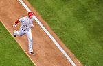 1 April 2013: Washington Nationals outfielder Bryce Harper crosses the plate after hitting his first solo home run during his first at-bat giving the Nationals a 1-0 lead in the Opening Day Game against the Miami Marlins at Nationals Park in Washington, DC. Harper hit a second homer during his second plate appearance and was named Player of the Game as the Nationals defeated the Marlins 2-0 to launch the 2013 season. Mandatory Credit: Ed Wolfstein Photo *** RAW (NEF) Image File Available ***