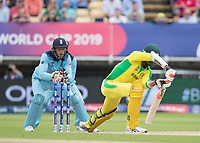 Mitchell Starc (Australia) keeps his foot grounded as quick gloves from Jos Buttler (England) removes the bails during Australia vs England, ICC World Cup Semi-Final Cricket at Edgbaston Stadium on 11th July 2019