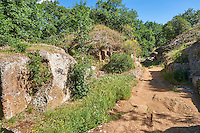 "An Etruscan street showing a round Etruscan tumuli tomb and a square Etruscan ""dado: (dice) tomb, 6th century BC, Necropoli della Banditaccia, Cerveteri, Italy. A UNESCO World Heritage Site"