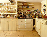 An Aga fits in amidst the crowded open shelving of this country kitchen