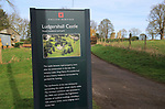 English Heritage information sign Ludgershall Castle, Wiltshire, England, UK