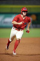 Clearwater Threshers third baseman Brian Mims (10) running the bases during a game against the Florida Fire Frogs on June 1, 2018 at Spectrum Field in Clearwater, Florida.  Florida defeated Clearwater 12-10.  (Mike Janes/Four Seam Images)