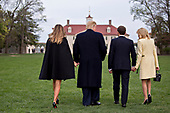 U.S. First Lady Melania Trump, from left, U.S. President Donald Trump, Emmanuel Macron, France's president, and Brigitte Macron, France's first lady, walk to stand for photographers outside the Mansion at the Mount Vernon estate of first U.S. President George Washington in Mount Vernon, Virginia, U.S., on Monday, April 23, 2018. As Macron arrives for the first state visit of Trump's presidency, the U.S. leader is threatening to upend the global trading system with tariffs on China, maybe Europe too. <br /> Credit: Andrew Harrer / Pool via CNP
