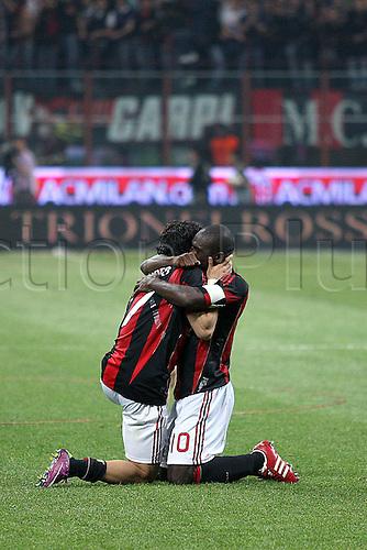 02 04 2011 AC Milan versus Inter Milan.      Pato hugs Clarence Seedorf after his opeing goal.