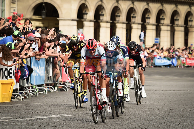 The breakaway group Nils Politt (GER) Katusha-Alpecin, Silvan Dillier (SUI) AG2R La Mondiale, Guillaume van Keirsbulck (BEL) Wanty-Groupe Gobert, Taylor Phinney (USA) EF-Drapac-Cannondale, Damien Gaudin (FRA) Direct Énergie and Michael Schär (SUI) BMC Racing Team on Place de la Concorde during Stage 21 of the 2018 Tour de France running 116km from Houilles to Paris Champs-Elysees, France. 29th July 2018. <br /> Picture: ASO/Pauline Ballet | Cyclefile<br /> All photos usage must carry mandatory copyright credit (© Cyclefile | ASO/Pauline Ballet)