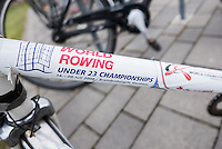 Brandenburg. GERMANY. Much has changed here at the venue, but an order sticker from an earlier event still sits on the crossbar of a bike.  <br /> 2016 European Rowing Championships at the Regattastrecke Beetzsee<br /> <br /> Wednesday  04/05/2016<br /> <br /> [Mandatory Credit; Peter SPURRIER/Intersport-images]