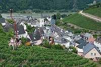 Assmannshausen, Hessen, Germany, July 2010. From the vineyards in the hills around Assmannshausen one overlooks the river Rhine and its busy shipping lane, as well as the village and its church.  The fertile river valleys and the rolling hills form the basis for some of Germany's best wines.  Photo by Frits Meyst / Adventure4ever.com
