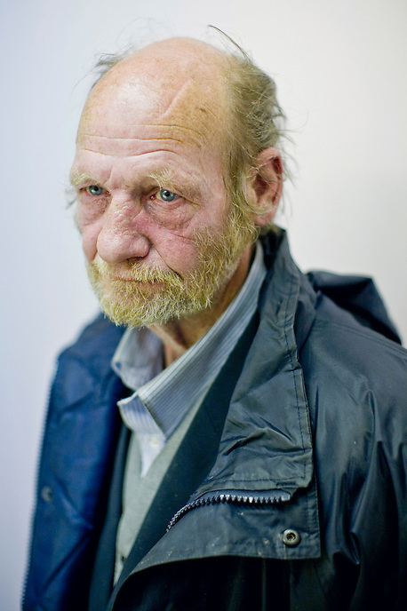 "John, a regular visitor to the Homeless Drop-In Centre at Hanley Baptist Church in Stoke-on-Trent. John says, ""I don't believe in people robbing me all the time, or taking advantage of me because I'm 62. I'm on a pension, ?119.05 per week. I've been all over the country. There's nothing unique about Stoke-on-Trent, why should there be? What's unique about any place?"" With a dramatic demise of once world-renowned industries, the number of homeless throughout the city has increased steadily over the years and currently stands at more than twice the national UK average."