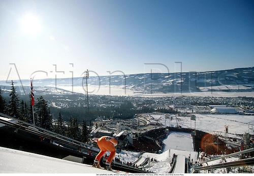 SKI JUMPING SLOPE, Winter Olympic Games, Lillehammer, Norway, 9402. Photo: Glyn Kirk/Action Plus....1994.skiing.venues.snow.geneal view.skier.ski-jump.ski-jumping.winter sport.winter sports.wintersport.wintersports.nordic.olympics.skijump ski-jump ski jumper jumping jump