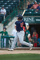 Chris Betts (26) of the Bowling Green Hot Rods follows through on his swing against the Fort Wayne TinCaps at Parkview Field on August 20, 2019 in Fort Wayne, Indiana. The Hot Rods defeated the TinCaps 6-5. (Brian Westerholt/Four Seam Images)