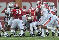NWA Democrat-Gazette/MICHAEL WOODS • @NWAMICHAELW<br /> University of Arkansas quarterback Brandon Allen pushed forward for a first down on a quarterback sneak during Saturdays game October, 24, 2015 against Auburn at Razorback Stadium in Fayetteville.