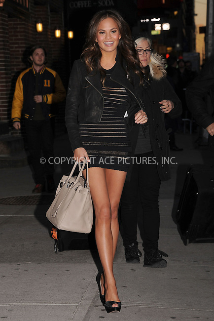 WWW.ACEPIXS.COM . . . . . February 13, 2012...New York City...Chrissy Teigen tapes an appearance on  the Late Show with David Letterman on February 13, 2012 in New York City....Please byline: KRISTIN CALLAHAN - ACEPIXS.COM.. . . . . . ..Ace Pictures, Inc: ..tel: (212) 243 8787 or (646) 769 0430..e-mail: info@acepixs.com..web: http://www.acepixs.com .