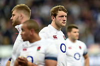 Joe Launchbury of England looks dejected after the match. Natwest 6 Nations match between France and England on March 10, 2018 at the Stade de France in Paris, France. Photo by: Patrick Khachfe / Onside Images