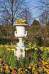Beautiful flowerbeds, including crown imperials, on a bright, sunny spring day in Regent's Park, London, England