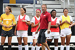 07 September 2014: Arkansas head coach Colby Hale paces in front of the players on his bench. The University of North Carolina Tar Heels played the University of Arkansas Razorbacks at Koskinen Stadium in Durham, North Carolina in a 2014 NCAA Division I Women's Soccer match. UNC won the game 2-1.
