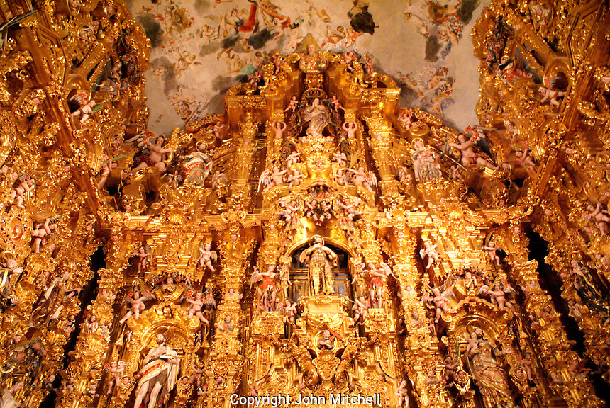 The main altarpiece in the Iglesia de San Francisco Javier Church in Tepotzotlan, Mexico. The San Francisco Javier Church and adjoining former Jesuit monastery now house the National Museum of the Viceroyalty or Museo Nacional de Virreinato.