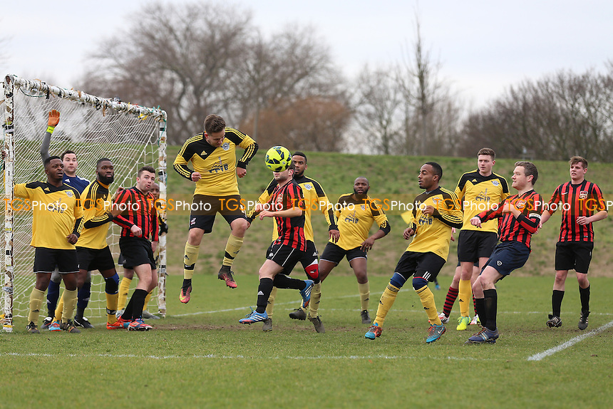 Boroughs United (yellow) vs South London Sharks, Hackney & Leyton Sunday League Jack Morgan Cup Semi-Final Football at Hackney Marshes on 19th February 2017