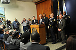 Chicago Mayor Rahm Emanuel during a press conference at Chicago City Hall flanked by Interim Chicago Police Superintendent John Escalante (second from right, in front) announcing more Tasers for Chicago police officers and training following a deadly shooting involving Chicago police over the weekend while Mayor Emanuel was on vacation in Cuba in Chicago, Illinois on December 30, 2015.  Over the weekend, Chicago police shot and killed 55 year old Bettie Jones and 19 year old Quintonio LeGrier while responding to a call over a domestic incident.