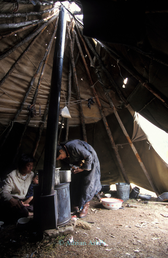 Inside  a Tsaatan family wigwam or<br />teepee  in Northern outer Mongolia Russian border.
