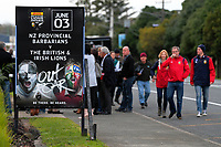 Fans arrive for the 2017 DHL Lions Series rugby union match between the NZ Provincial Barbarians and British & Irish Lions at Toll Stadium in Whangarei, New Zealand on Saturday, 3 June 2017. Photo: Dave Lintott / lintottphoto.co.nz
