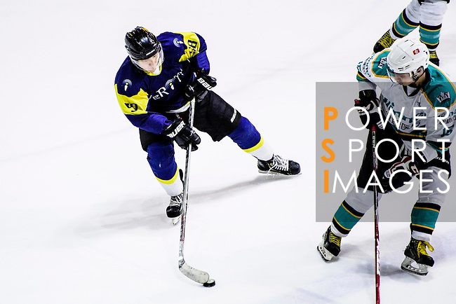 Verity Skater #58 Mike Lam (l) in action during the Principal Standard League match between Medical Winner Kings vs Verity at the Mega Ice on 17 January 2017 in Hong Kong, China. Photo by Marcio Rodrigo Machado / Power Sport Images