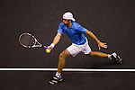 BANGKOK, THAILAND - OCTOBER 02:  Benjamin Becker of Germany returns a ball to Jarkko Nieminen of Finland during the Day 8 of the PTT Thailand Open at Impact Arena on October 2, 2010 in Bangkok, Thailand. Photo by Victor Fraile / The Power of Sport Images