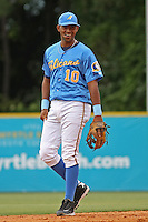 Samuel Sime #10 of the Myrtle Beach Pelicans playing 3rd base during a game against the Lynchburg Hillcats on May 26, 2010 at BB&T Coastal Field in Myrtle Beach, SC.