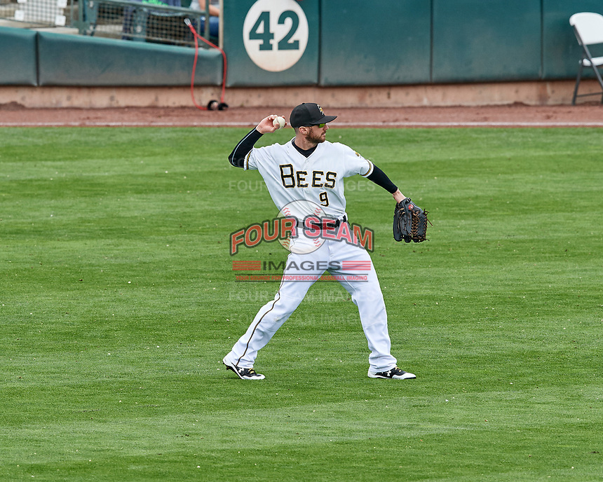 Shane Robinson (9) of the Salt Lake Bees during the game against the El Paso Chihuahuas in Pacific Coast League action at Smith's Ballpark on April 30, 2017 in Salt Lake City, Utah. El Paso defeated Salt Lake 3-0. This was Game 1 of a double-header. (Stephen Smith/Four Seam Images)