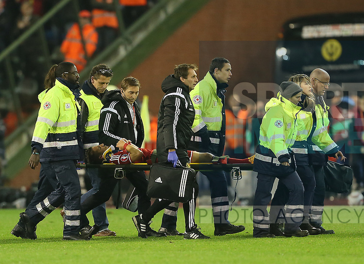 Belgium's Dries Mertens gets stretchered off<br /> <br /> - European Qualifier - Belgium vs Wales- Heysel Stadium - Brussels - Belgium - 16th November 2014  - Picture David Klein/Sportimage