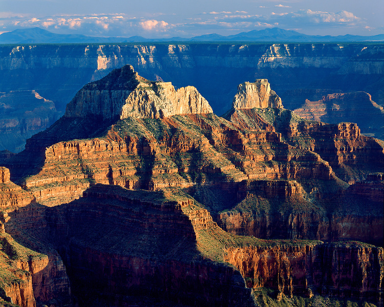 Evening light on Deva, Brahma, & Zoroaster Temples viewed from Bright Angel Point on the North Rim; Grand Canyon National Park, AZ