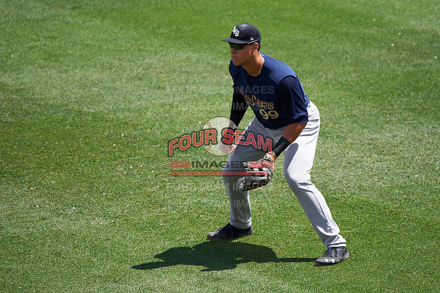 Scranton/Wilkes-Barre RailRiders right fielder Aaron Judge (99) during a game against the Buffalo Bisons on July 2, 2016 at Coca-Cola Field in Buffalo, New York.  Scranton defeated Buffalo 5-1.  (Mike Janes/Four Seam Images)