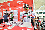 Alexander Kristoff (NOR) UAE Team Emirates signs on before the start of Stage 3 of the 2019 UAE Tour, running 179km form Al Ain to Jebel Hafeet, Abu Dhabi, United Arab Emirates. 26th February 2019.<br /> Picture: LaPresse/Massimo Paolone | Cyclefile<br /> <br /> <br /> All photos usage must carry mandatory copyright credit (© Cyclefile | LaPresse/Massimo Paolone)