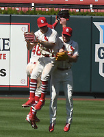 25th July 2020, St Louis, MO, USA;  St. Louis Cardinals outfielders celebrate after winning a Major League Baseball game between the Pittsburgh Pirates and the St. Louis Cardinals