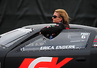 Feb. 12, 2012; Pomona, CA, USA; NHRA pro stock driver Erica Enders during the Winternationals at Auto Club Raceway at Pomona. Mandatory Credit: Mark J. Rebilas-