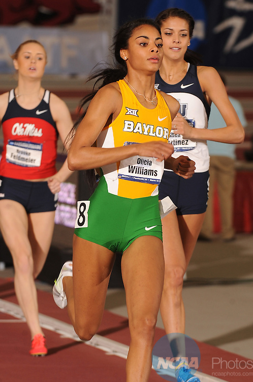 14 MAR 2015:  Olicia Williams of Baylor University competes in the 800 meter run during the Division I Men's and Women's Indoor Track & Field Championship is held at the Randal Tyson Center on the University of Arkansas campus in Fayetteville, AR. Williams placed third with a 2:03.67 time.  Tom Ewart/NCAA Photos