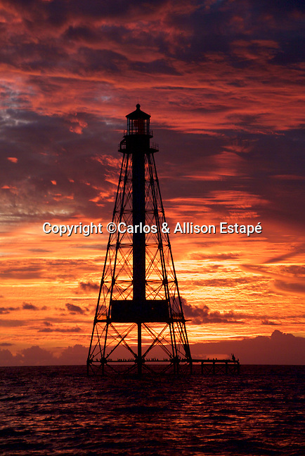 Alligator Lighthouse, Florida Keys, sunset, orange sky