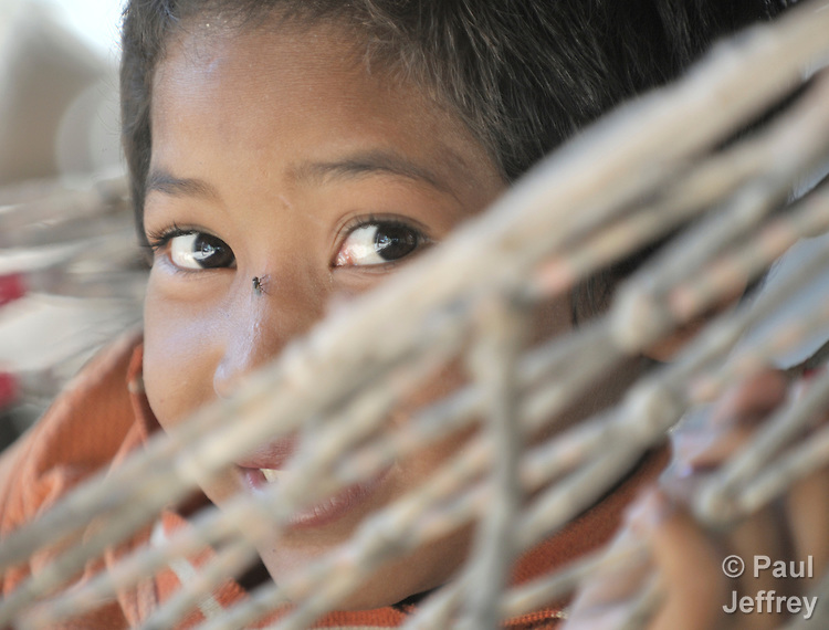 Nine-year old Sok Deth, a girl in the Cambodian village of Somrith.