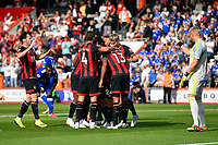 Kasper Schmeichel of Leicester City right points his finger as AFC Bournemouth players celebrate the second goal scored by Ryan Fraser of AFC Bournemouth during AFC Bournemouth vs Leicester City, Premier League Football at the Vitality Stadium on 15th September 2018