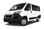 Stock pictures of low aggressive front three quarter view of a 2018 Peugeot Boxer Active 4 Door Combi