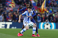 7th March 2020; Camp Nou, Barcelona, Catalonia, Spain; La Liga Football, Barcelona versus Real Sociedad;  Barrenetxea of Real holds off the challenge from Semedo of Barca