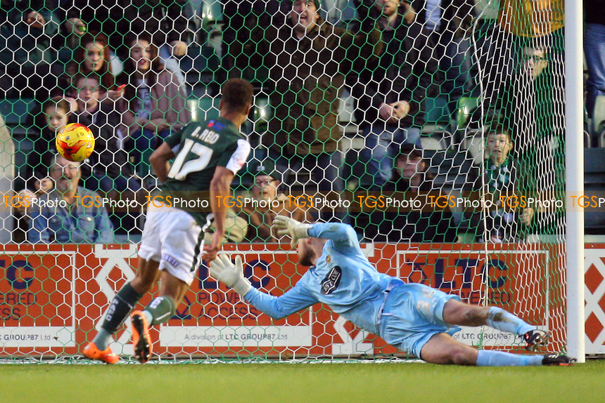 Bobby Reid of Plymouth Argyle scores the second goal - Plymouth Argyle vs Dagenham and Redbridge - SkyBet League Two action at the Home Park Stadium on 20/12/2014 - MANDATORY CREDIT: Dave Simpson/TGSPHOTO - Self billing applies where appropriate - 0845 094 6026 - contact@tgsphoto.co.uk - NO UNPAID USE