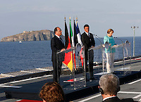 attends at press conference  on board of Itally's Navy Garibaldi, at the of Italy - France - Germany summit in Ventotene Island 22 August 2016