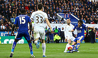 Shinji Okazaki of Leicester City has a shot on goal during the Barclays Premier League match between Leicester City and Swansea City played at The King Power Stadium, Leicester on 24th April 2016