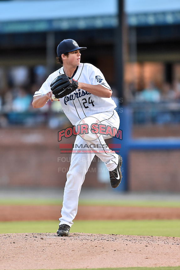 Asheville Tourists starting pitcher Peter Lambert (24) delivers a pitch during a game against the Augusta GreenJackets at McCormick Field on August 5, 2016 in Asheville, North Carolina. The Tourists defeated the GreenJackets 7-6. (Tony Farlow/Four Seam Images)