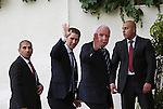 Palestinian Foreign Minister Riyad al-Maliki waves to media as Austrian Foreign Minister Sebastian Kurz arrives to meet Palestinian President Mahmoud Abbas in the West Bank city of Ramallah May 15, 2016. Photo by Shadi Hatem
