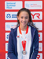 Picture by Allan McKenzie/SWpix.com - 05/08/2017 - Swimming - Swim England National Summer Meet 2017 - Ponds Forge International Sports Centre, Sheffield, England - Alice Chan takes silver in the womens 14yrs 50m breaststroke.