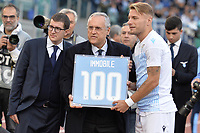 Ciro Immobile of Lazio receive a prize for 100 goals on Lazio with Claudio Lotito and his son Enrico.<br /> Roma 10-11-2019 Stadio Olimpico <br /> Football Serie A 2019/2020 <br /> SS Lazio - Lecce<br /> Foto Antonietta Baldassarre / Insidefoto