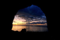 Sunset view from inside a cave in the Rock islands, Palau, Micronesia