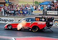 Jul 20, 2018; Morrison, CO, USA; NHRA funny car driver Todd Simpson during qualifying for the Mile High Nationals at Bandimere Speedway. Mandatory Credit: Mark J. Rebilas-USA TODAY Sports