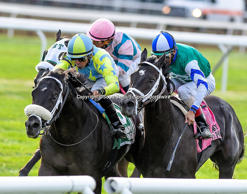 September 26, 2015 : Isotherm (green cap), ridden by Jose Lezcano, wins The Pilgrim Stakes  on on Turf Classic Day at Belmont Park in Elmont, NY. Scott Serio/ESW/CSM